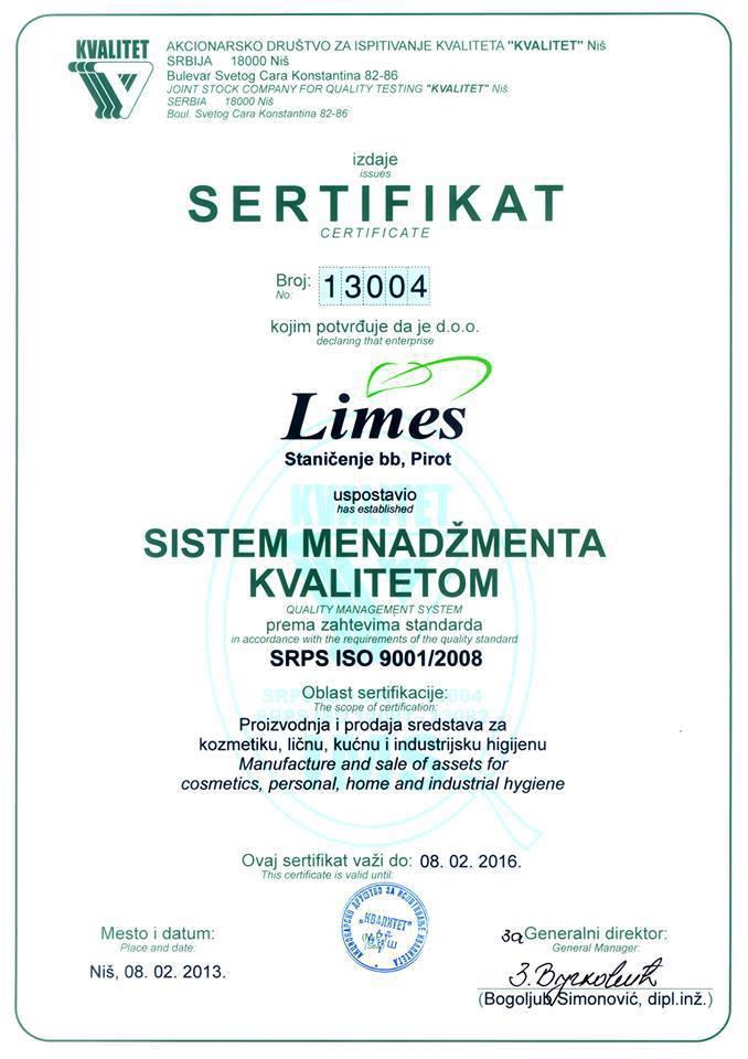 Limes Pirot sertifikat